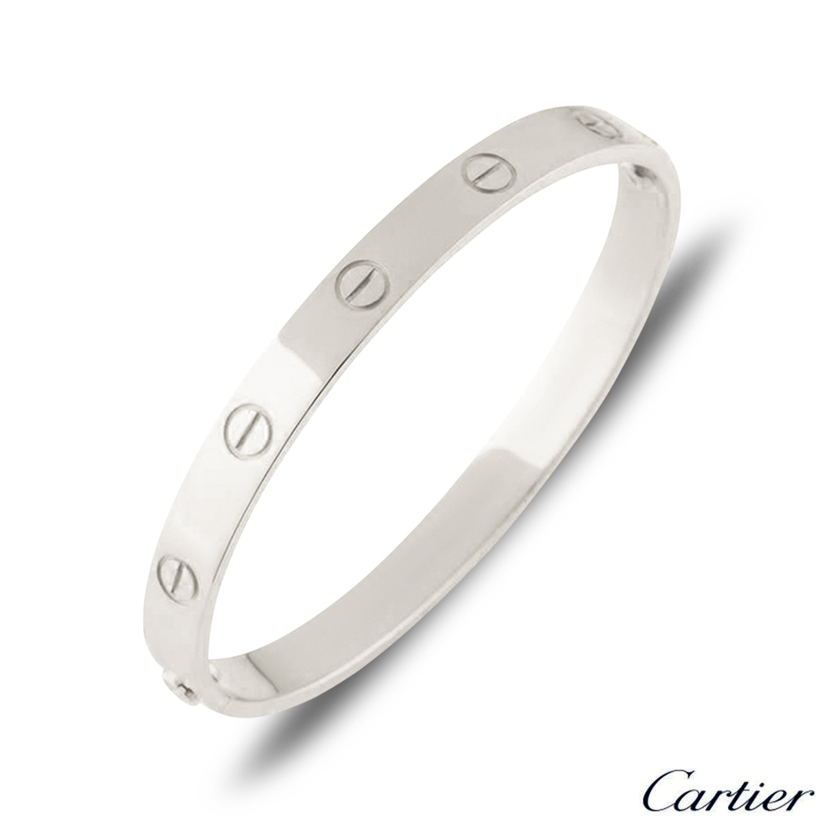 Cartier White Gold Plain Love Bracelet Size 20 B6035420